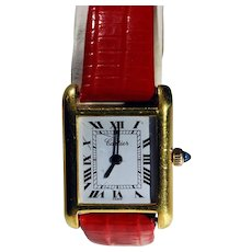 Ladies Cartier Tank with 18 kt Electroplate Case, 17 Jewels