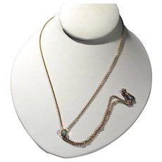 Antique Watch Chain with Opal Slide