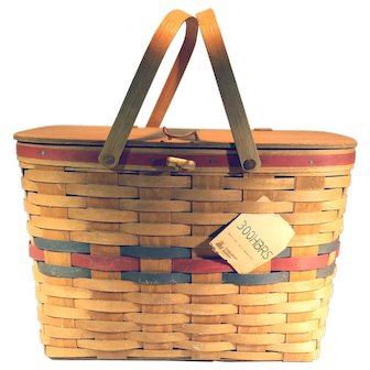 Vintage Rare 1987 Longaberger All American Large Picnic Basket