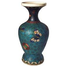 Meiji Period Totai Shippo Japanese Cloisonne on Earthenware Pottery Vase