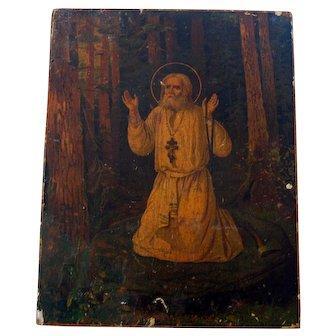 Authentic Antique Russian Icon of Saint Seraphim