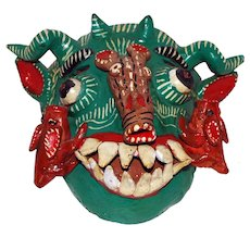 Central American Pottery Mask, Goat's Head, Aardvark nose, Grotesque Teeth