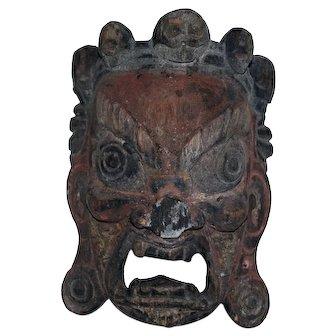 Antique Tibetan Carved Wooden Mask of the Fierce Mahakala