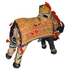 Vintage Rajasthan Embroidered India Textile Cloth Stuffed Braman Bull
