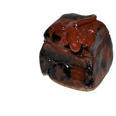 Glazed Terra Cotta Chameleon Ink Box