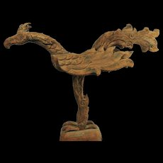 Very Old Chinese Lucky Phoenix Wood Sculpture