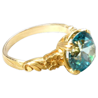 Vintage, engraved Blue Zircon ring