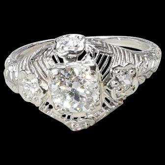 900 Platinum early 1900's diamond ring