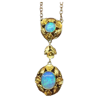 Art Nouveau opal necklace