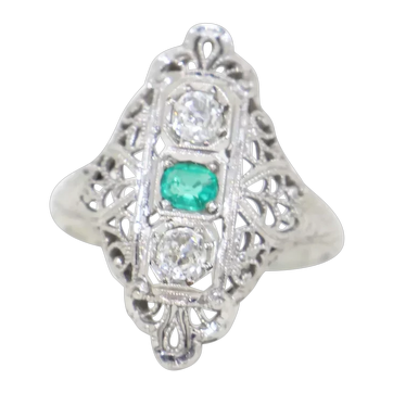 18k White Gold Filigree Ring