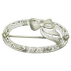 14 Karat White Gold Diamond Brooch. Free U.S. Shipping. International Shipping Charges May Vary.