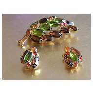 Beautiful autumn colors Juliana Brooch and earring set