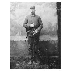 Civil War soldier Tintype - Rifle  and Bayonet -  w crossed guns Kepi emblem