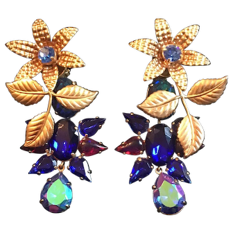 "Vintage Zoe Coste French Haute Couture 3"" earrings - Stunning !"