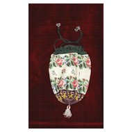 Beautiful Victorian drawstring Floral beaded purse