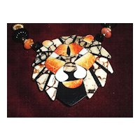 Fantastic 1970's inlaid Lion Necklace Book piece