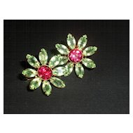 Sweet Peridot and Fuschia Sterling silver flower Vintage Earrings