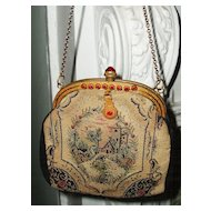 Sweet Vintage scenic Petit Point purse with Ruby jeweled frame