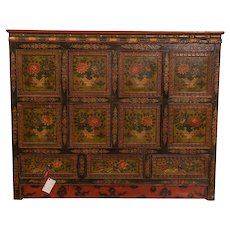 Eight Panel Tibetan Hand Painted cabinet