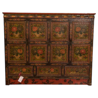 Eight Panel Tibetan Hand Painted cabinet