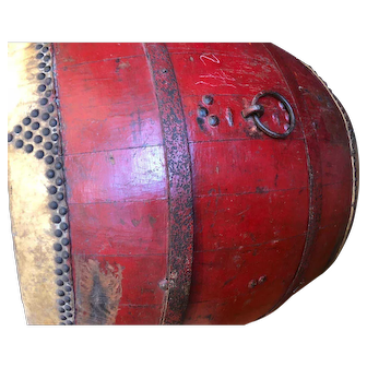 Antique Chinese Thunder Festival Drum circa 19th Century