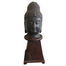 Cast Bronze Buddha Head 19th Century China