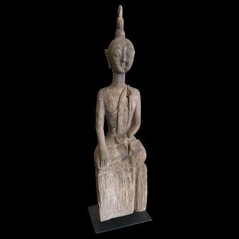 19th Century Laotian Teakwood Buddha Figure