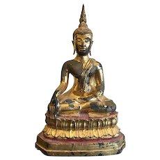 Vintage Sukothai Style Lacquered and Gilt Bronze Buddha,