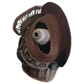 Vintage Sepik River Abelam Baba Tagwa Basketry Mask