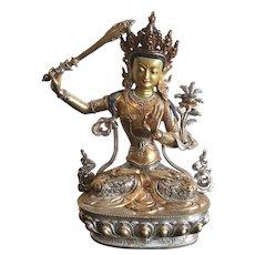 Vintage Gilt Bronze Manjushree Statue, Nepal