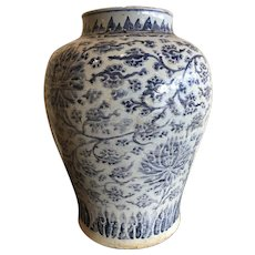 Antique Chinese Ceramic Blue and White Porcelain Baluster Jar