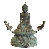 18th Century Bronze Burmese Buddha Statue with Acolytes, Shan Province