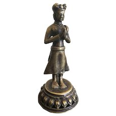 Antique Bronze Image of Malla King, 19th Century, Nepal