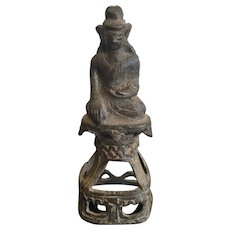 Antique Moulmein Bronze Buddha on Throne