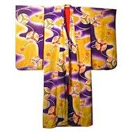 1930's Japanese Chirimen Silk Kimono
