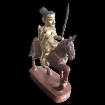 Antique Nat Spirit on Horseback Statue
