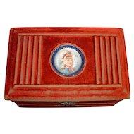 RARE Early 1900's Velvet Vanity Box Coffret w/ Mechanized Opening
