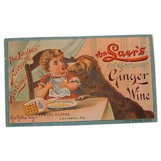 Victorian Advertising Trading Card - Von Laer's Non-Alcoholic Ginger Wine