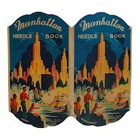 Vintage Manhattan Needle Book American Indians New York Skyline Boat RARE
