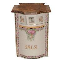 Rare Antique Vintage German Roses Porcelain Salt Salz Box Wood W/ Lid and Wall Hanger