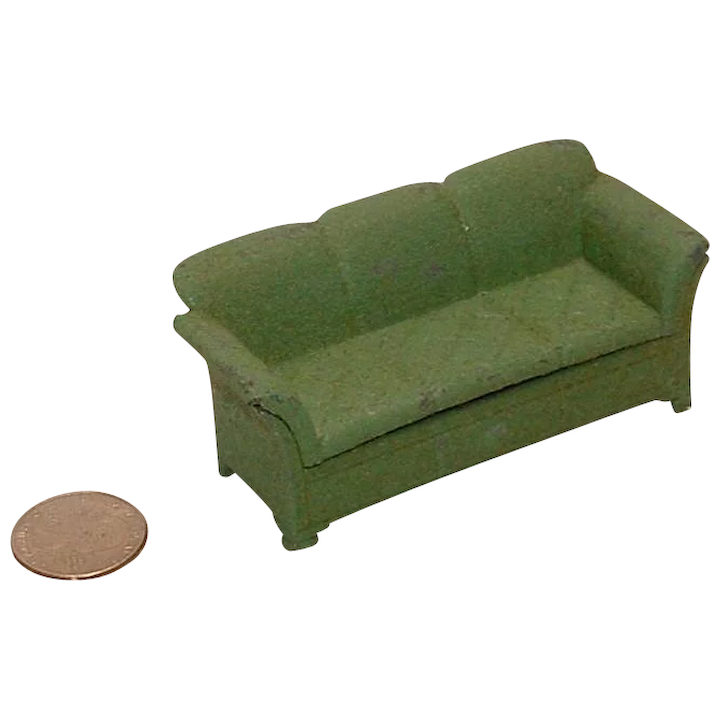 Pleasant Vintage 1930S Tootsie Toy Green Couch Sofa Dailytribune Chair Design For Home Dailytribuneorg