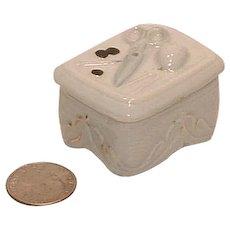 Antique Porcelain Needle Box Fairing H. & G. Mark Under Lid