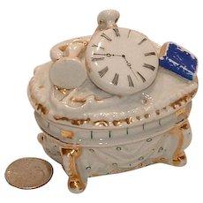 Antique Conta Boehme Trinket Box Fairing with Pocket Watch, Gun, Anchor, Book, Whip and Ring