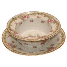 Antique Ch Field Haviland Limoges Porcelain Ramekin and Under Plate PINK ROSES & Holly IVY & Berries