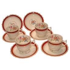 Vintage E & R Ebeling & Reuss American Art Ware 10 Piece Cup and Saucers