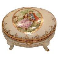 Porcelain Courting Couple Dresser Box Arnart
