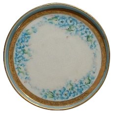 Hand Painted Nippon Blue Forget Me Not Coaster Rising SUN Mark
