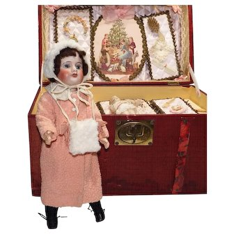 SFBJ 60 6/0 Unis France Bisque Doll 31cm with Amazing Trousseau - Most Accessories STILL TIED IN BOX!!