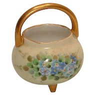 Vintage Hand Painted Small Round Porcelain Basket Adorned in Forget Me Nots