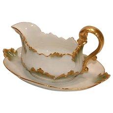 Antique CH Field Haviland Limoges CFH / GDM France 1891 Porcelain Green Gold Gravy Boat or Sauce Server with under plate MARK is RARE
